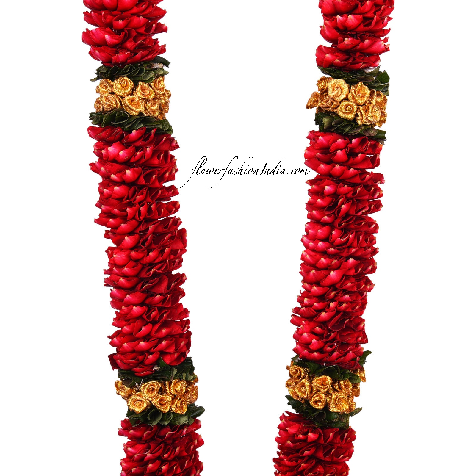 Purchase Online Fresh Red Rose Petal Garland Adorned With Golden Beads And Gold Tissue Straight Flower Fashion India