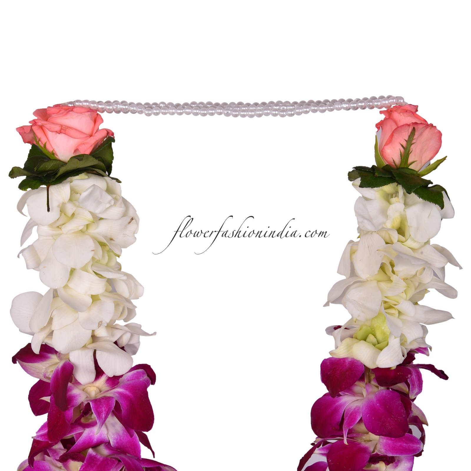 White Purple Orchid Garland With Pink Rose Petals And Buds 1 Pair Flower Fashion India